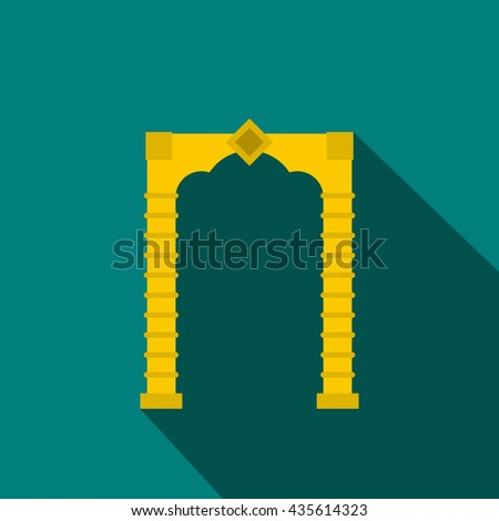 Eastern arch icon, flat style - stock photo