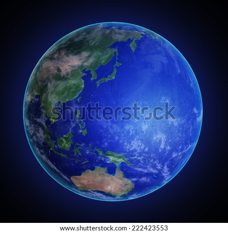 Eastern Asia and the Pacific Ocean seen from space - stock photo