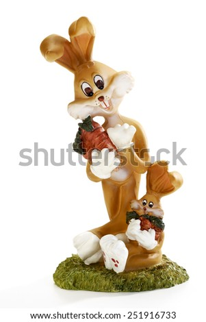 Eastern, Easter bunny figurines - stock photo