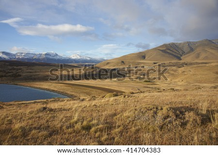 Eastern end of Laguna Azul in Torres del Paine National Park, Magallanes, Chile - stock photo