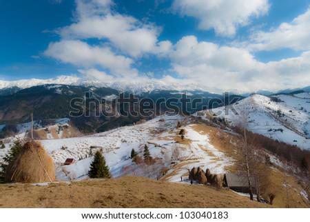 Eastern European mountain scenery, early spring - stock photo