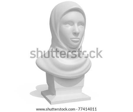 eastern female bust isolated over white background - stock photo