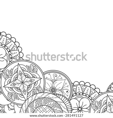 Eastern hand drawn mandala border, zentangle. Abstract doodle background with place for text. Good for cards, invitations, brochures, bag design, presentation template. Floral elements. Raster copy. - stock photo