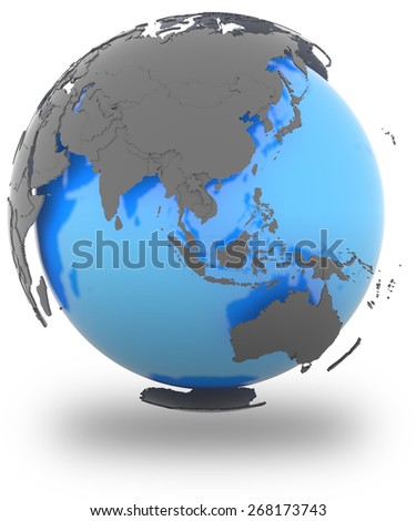 Eastern Hemisphere standing out of blue Earth in grey, isolated on white background - stock photo