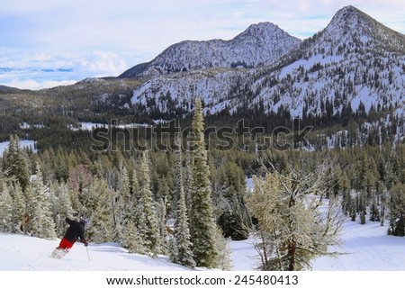 Eastern Oregon downhill skiing - stock photo