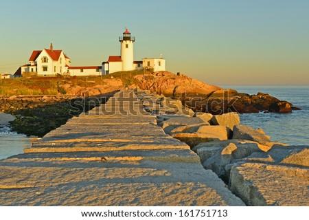Eastern Point Lighthouse at sunset, Gloucester, Massachusetts, USA - stock photo