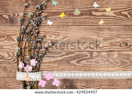 easters spring wooden background.Blank, greeting easter card with catkins and ladybugs - stock photo