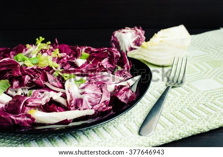 Easy diet chicory salad with fennel on dark wooden background with fork. Italian bitter and spicy tasted red chicory radicchio salad. Vegetarian Food. Healthy food. Dietary meal. Selective focus. - stock photo