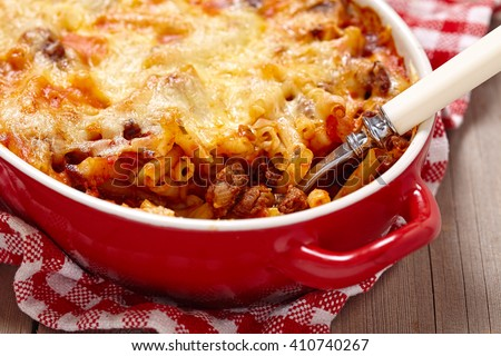 Easy macaroni casserole with lean ground beef - stock photo