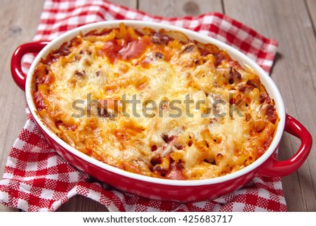 Easy macaroni casserole with lean ground turkey - stock photo