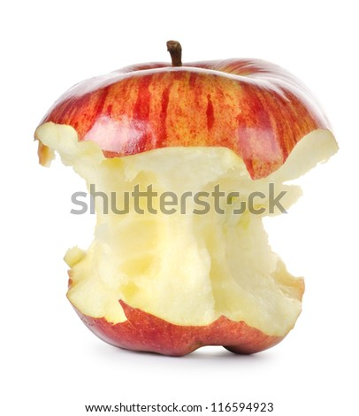 Eaten red apple - stock photo