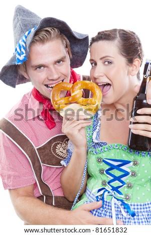 eating a pretzel - stock photo