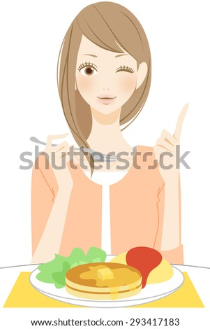 Eating Breakfast. Point. - stock photo