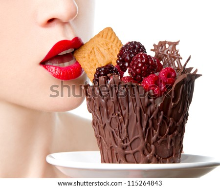 eating dessert - stock photo