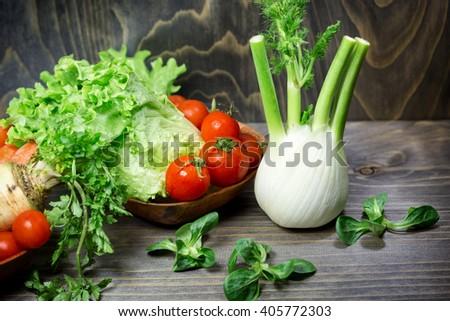 Eating healthy food - fresh organic vegetables - stock photo