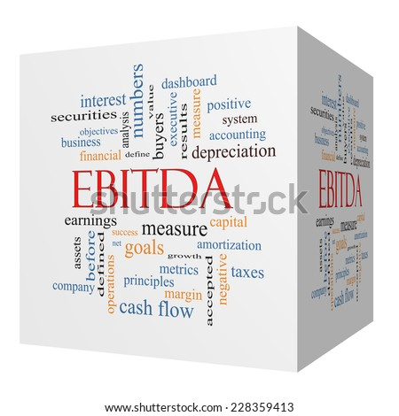 EBITDA 3D cube Word Cloud Concept with great terms such as earnings, before, taxes, interest and more. - stock photo