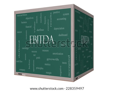 EBITDA Word Cloud Concept on a 3D cube Blackboard with great terms such as earnings, before, taxes, interest and more. - stock photo
