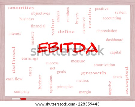 EBITDA Word Cloud Concept on a Whiteboard with great terms such as earnings, before, taxes, interest and more. - stock photo