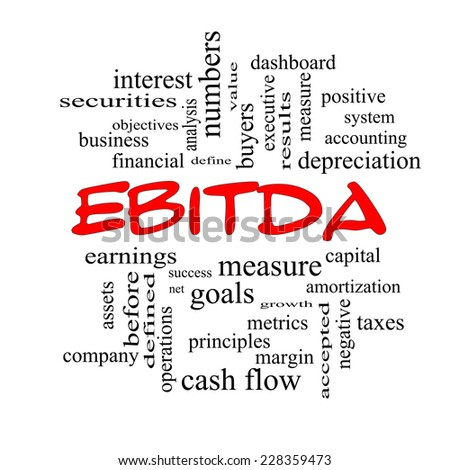 EBITDA Word Cloud Red Caps Concept with great terms such as earnings, before, taxes, interest and more. - stock photo