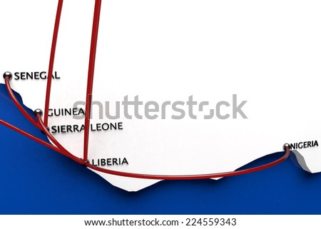 Ebola in the Outbreak Countries in Africa - ebola is a serious infectious lethal virus - stock photo