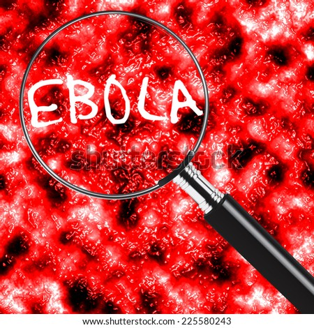Ebola under a magnifying glass - stock photo