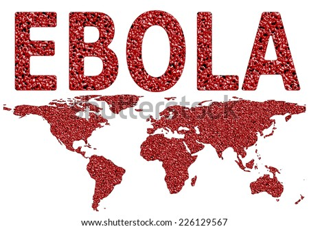 Ebola virus worldwide spread droplet textured map on an isolated white background with a clipping path - stock photo