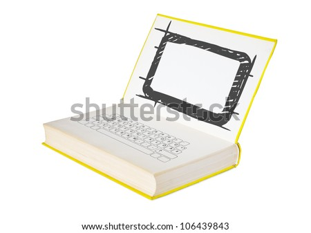 ebook and e-learning concept, free copy space - stock photo