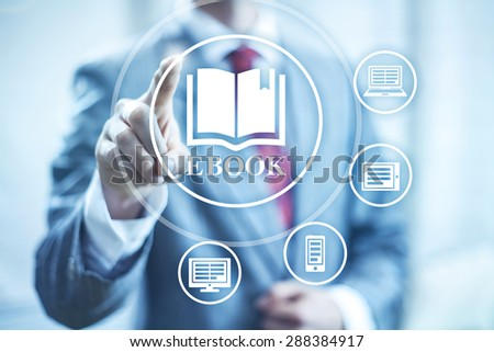 Ebook concept illustration reading devices - stock photo