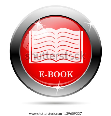 Ebook icon with white on red background - stock photo