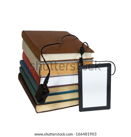 eBook instead of stack of books isolated on white background - stock photo