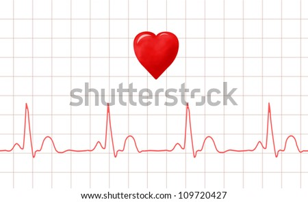 ECG graph and heart - stock photo