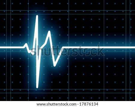 ECG heart beat wave - stock photo