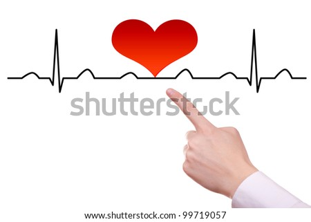 ECG line with heart on it - stock photo