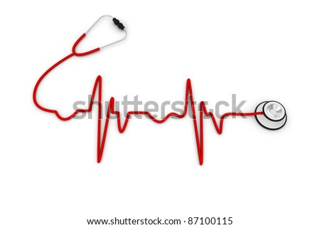 ECG made up of Stethoscope - stock photo