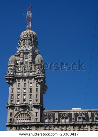 Eclectic architecture on Salvo Palace, Montevideo Uruguay - stock photo