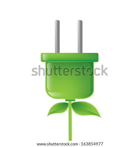 eco, bio, energy saving concept - green electric plug illustration - stock photo