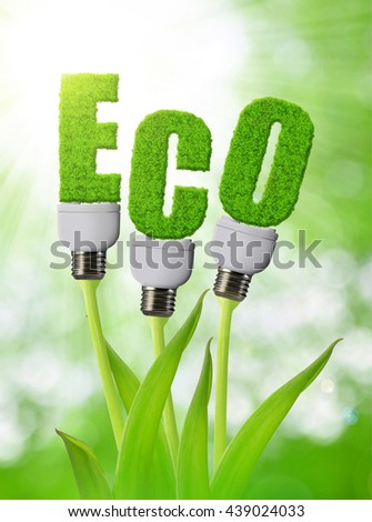 Eco bulb growing on plant. Clean energy concept. - stock photo