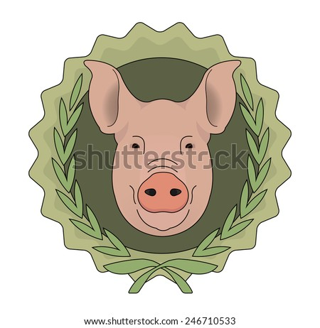 Eco butchery organic food raster logo. Big pink pig head in laurel wreath. Color illustration isolated on  white - stock photo