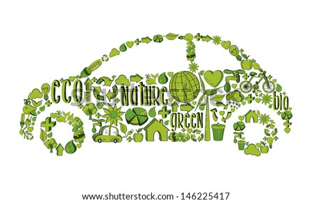 Eco car with environmental hand drawn icons in green. - stock photo