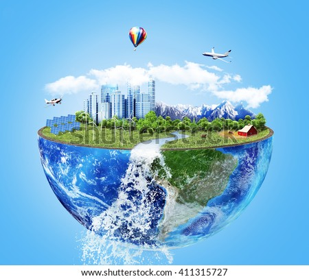 Eco concept. City of future. Solar energy town, wind energy. Save the planet concept. Earth Day. - stock photo