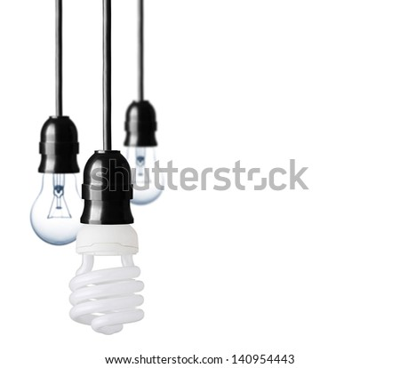 Eco concept with bulbs - stock photo