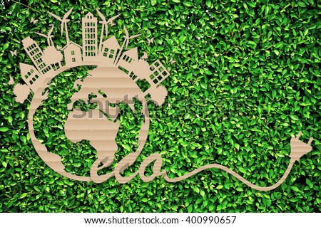 Eco design - Green and Sustainable, vector blurred background. - stock photo