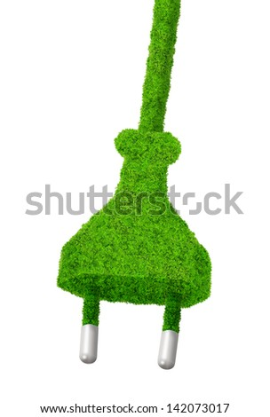 eco electric plug - green energy concept - stock photo