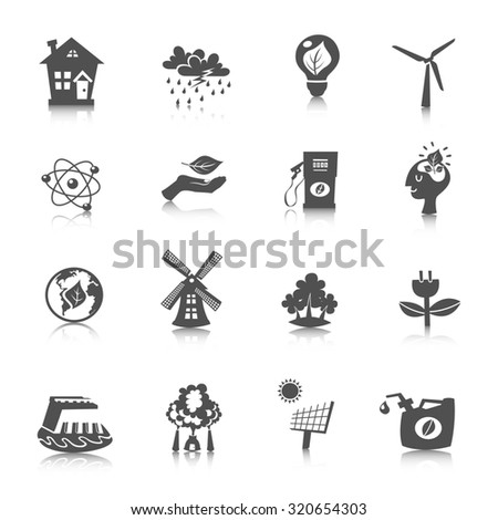 Eco energy black icons set with wind solar water electric technologies isolated  illustration - stock photo