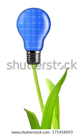 eco energy bulb from solar panels isolated on white - stock photo