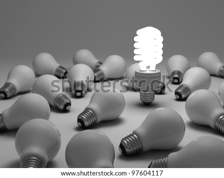 Eco energy saving light bulb concept, one glowing compact fluorescent light bulb amongst the unlit incandescent bulbs on white background - stock photo