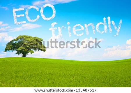 Eco friendly a cloud massage floting in the park - stock photo