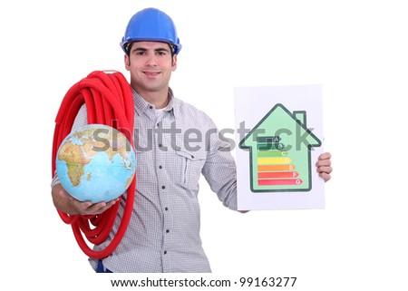 Eco-friendly builder - stock photo