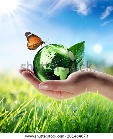eco-friendly concept - maps elements of this image furnished by NASA  - stock photo