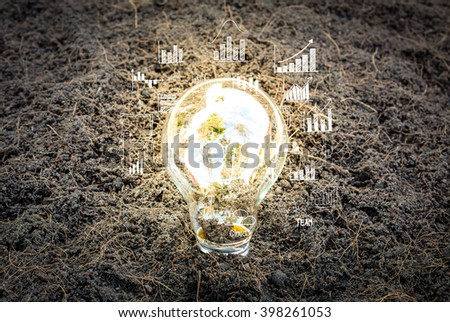 Eco friendly earth in light bulb - stock photo